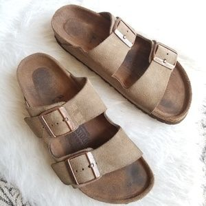BIRKENSTOCK Arizona Suede Leather Two-Strap 37